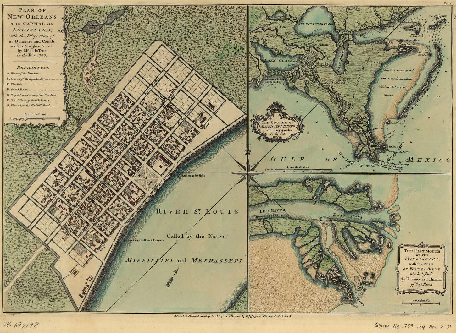 1759 map with road to Bayou St. John (and then to the Lake