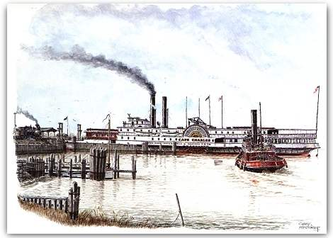 1885 view of the Cape Charles Car and Passenger Ferry