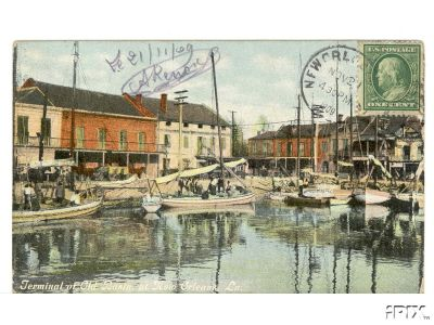 1909 Poscard of the Terminal of the Old Basin Canal
