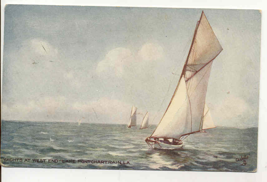 1911 Postcard - Sailing on Lake Pontchartrain