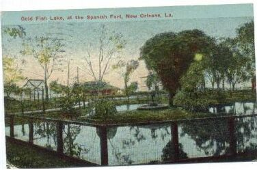 1914 Postcard - Spanish Fort Goldfish Pond