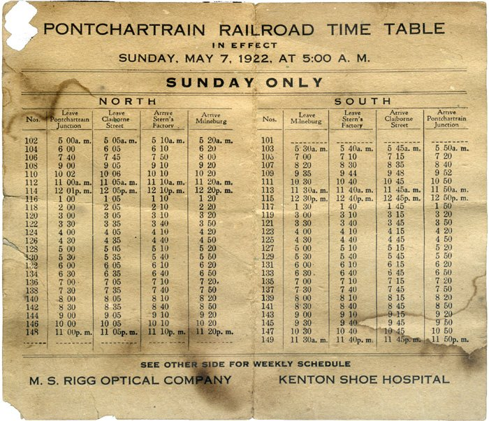 1922 - Pontchartrain Railroad Schedule