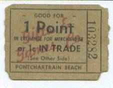 1958 Pontchartrain Beach Ticket