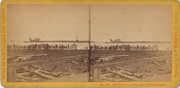 1875  Rowles Stereograph Photograph titled 'Protection levee Lake Pontchartrain' created by S.T. Blessing.