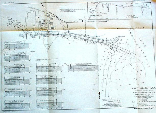 1913 Army Corps Of Engineers chart and report (see below)of a survey of Bayou St. John at the entrance to the lake.