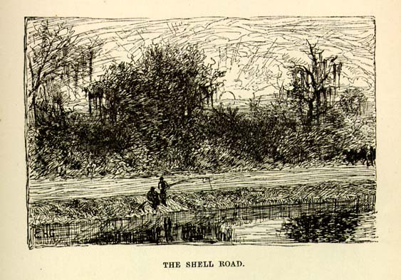 1874 Mark Twain writes about the Shell Road in Life on the Mississippi
