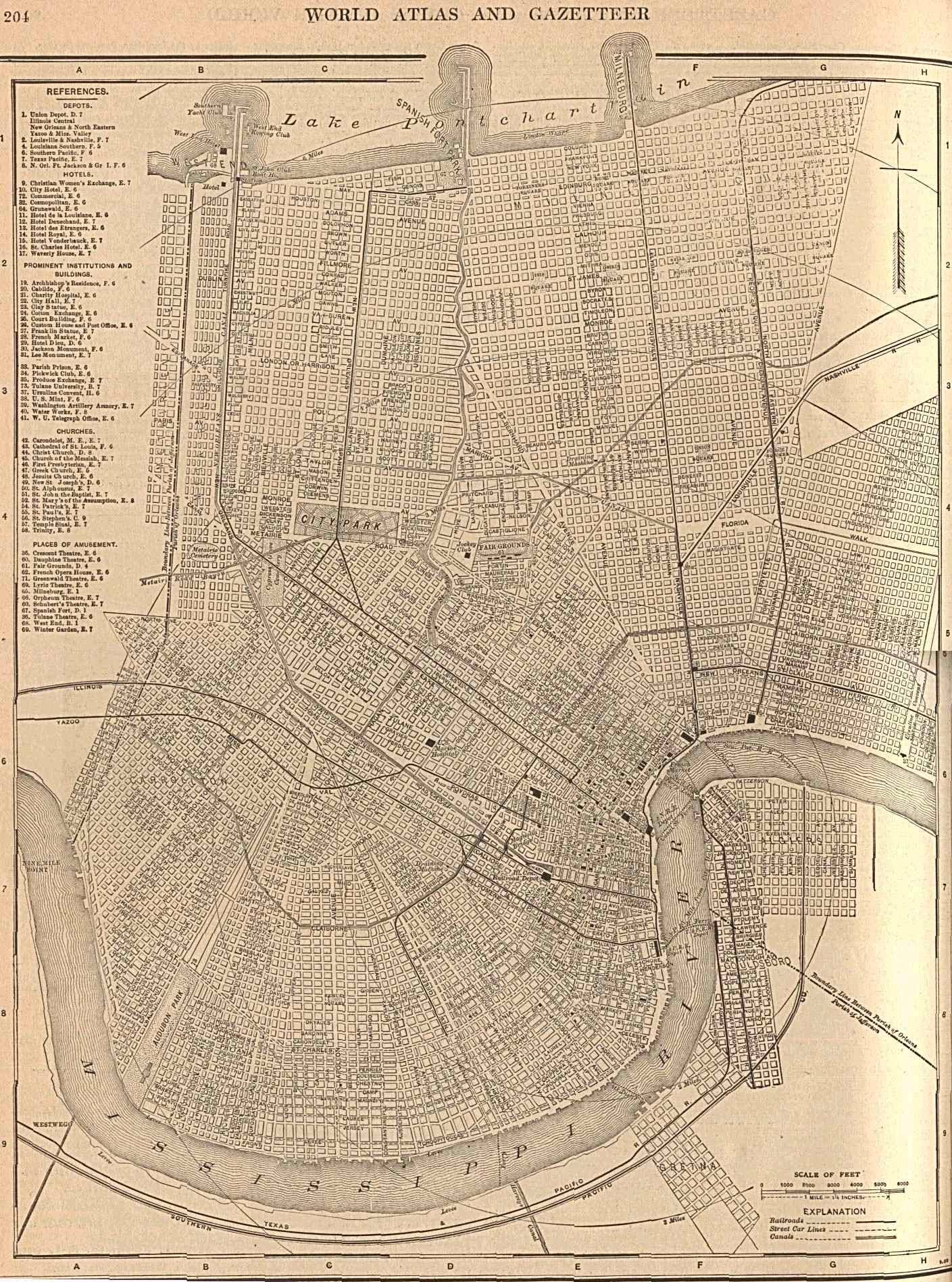 1908 map showing West End, Spanish Fort, & Milneburg.
