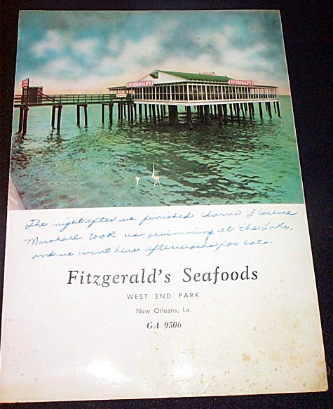 1950s Fitzgerald's Menu Cover (full view)
